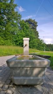 Horgenberg: Der Erlöser-Brunnen beim Vita Parcous Parkplatz